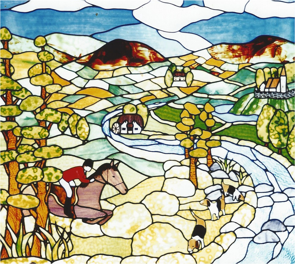 19.hunting.scene.stained.glass