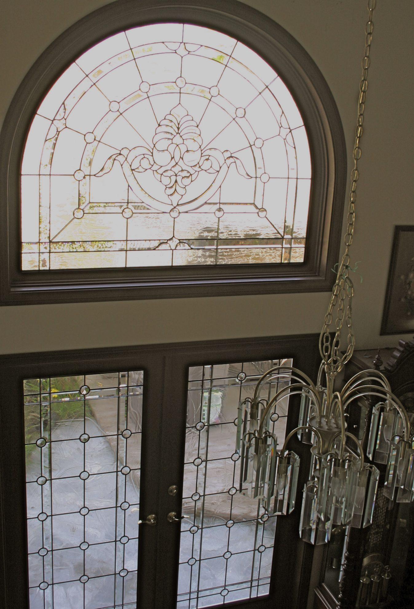 beveled glass 81.radius.transom.door